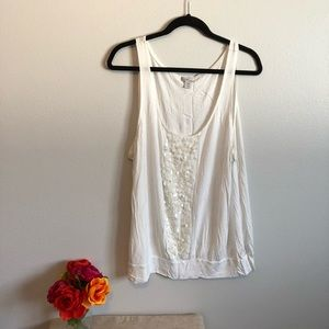 White Tank Top with Sequins